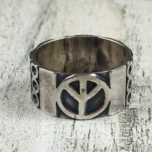 Sterling Silver Peace Sign Wide Band Ring 10.5